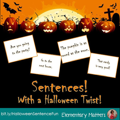 Sentences, With a Halloween Twist! Here's a chance for your students to practice several skills including reading with expression, sentence types, fantasy vs realistic, and complete sentence vs sentence fragment. Perfect literacy and Halloween fun for grades 1-3!