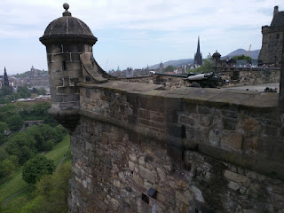 View of castle wall and tower from the café, Edinburgh Castle, Edinburgh, Scotland