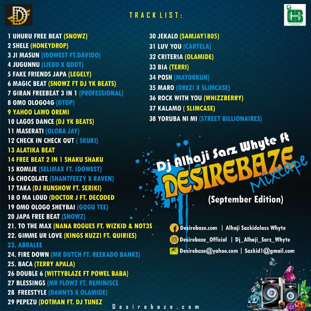 Desirebaze Media Monthly Mixtape (September Edition) – Hosted by Dj Alhaji Sarz Whyte - www.mp3made.com.ng
