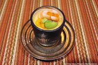 """""""Sakizuke"""" Second Course: Chilled Tamaji-Mushi, Shrimp, Uni, Lima Bean, and Gin-an at Kyo Ya"""