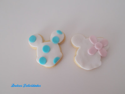 Galletas Mickey y Minnie fondant