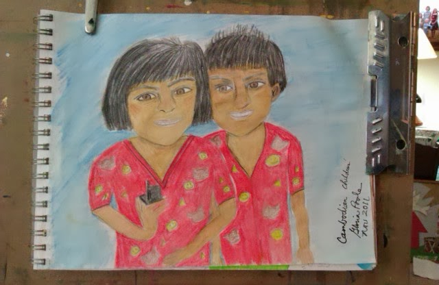 Cambodian siblings sketch by Gloria Poole; ethnic series preliminary drawing