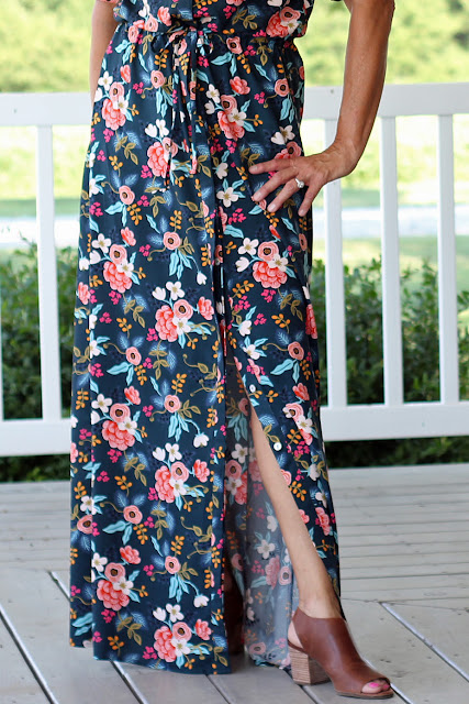 Style Maker Fabrics' Les Fleurs Birch Floral Rayon Navy sewn into a Simplicity 8084  maxi dress, designed by Mimi G - long skirt
