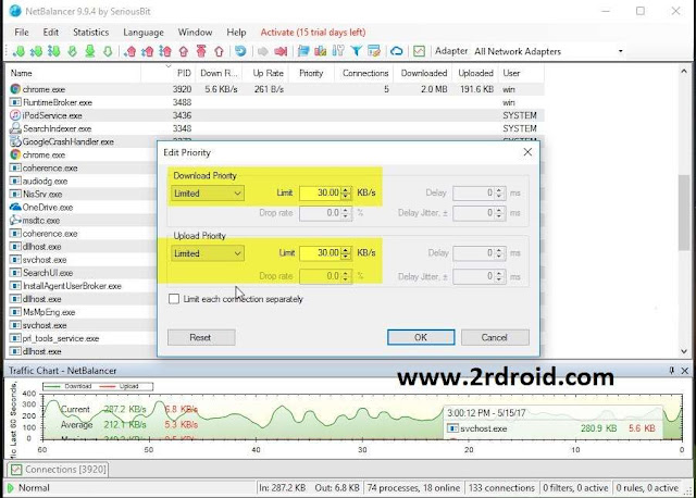تعرف على افضل طريقة لتحديد سرعة البرامج التى تستخدم الإنترنت على جهازك