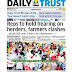 NIGERIA NEWSPAPERS: TODAY'S THE DAILY TRUST NEWSPAPER HEADLINES [17 JANUARY, 2018]
