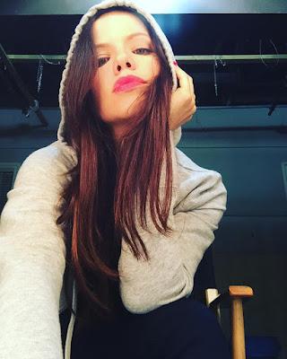 "PLL bts Tammin Sursok (Jenna) night shoot for 7x10 ""The DArkest Knight"""