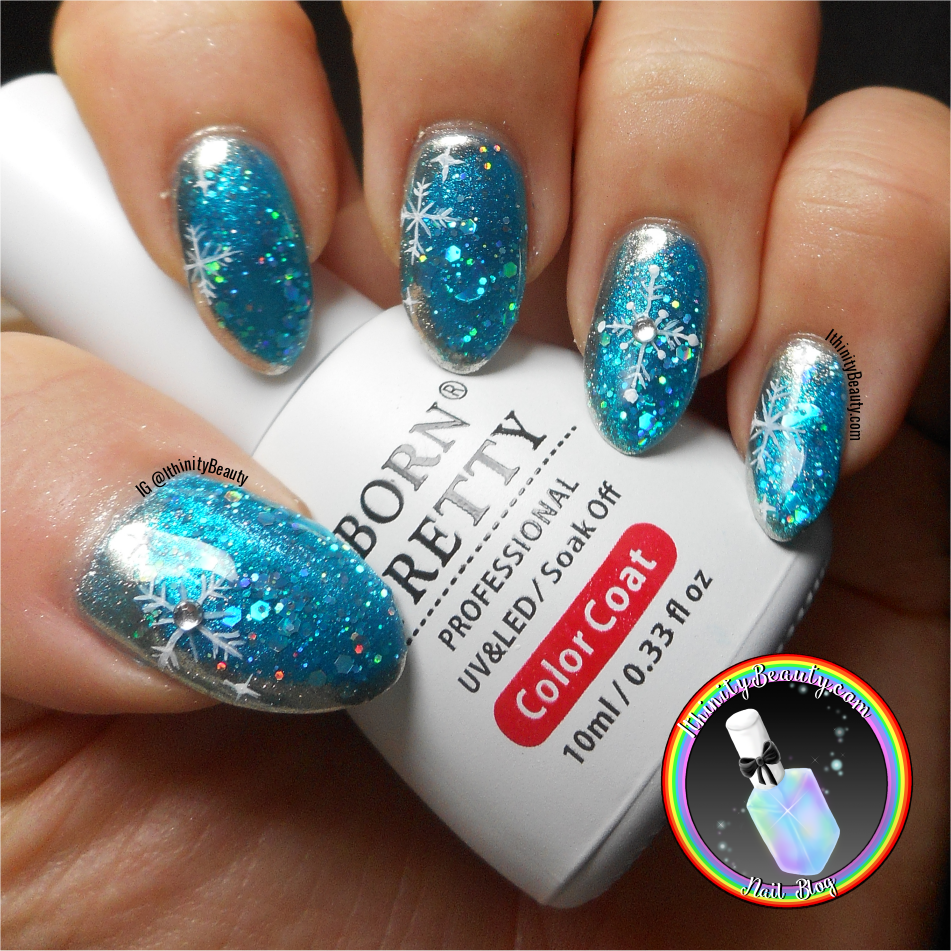 Winter Snowflake Nail Art With Gel Glitter And Silver Mirror Chrome ...