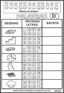 Sequência alfabética alfabetização letra D