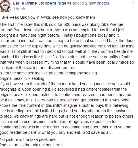 Photos: How he purchased fake Peak Milk at motorpark in Awka