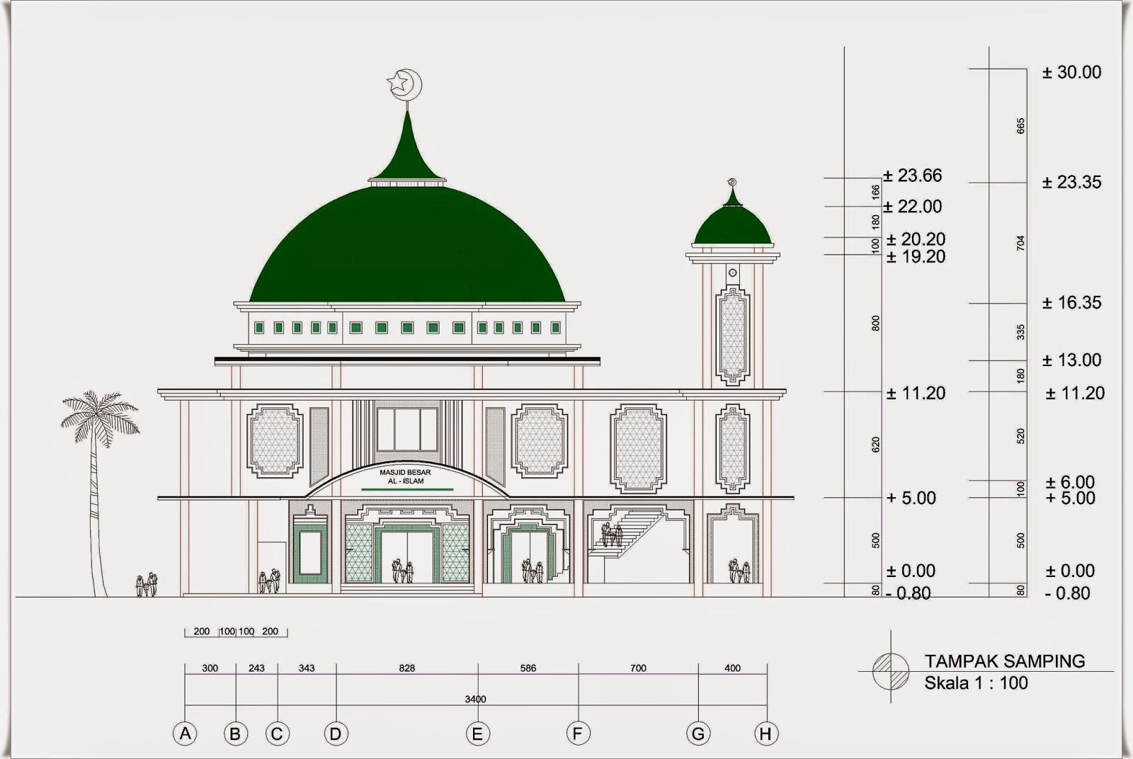 Masjid 2 Lantai Ukuran 28 M X 34 M Dengan 1 Menara Home Design