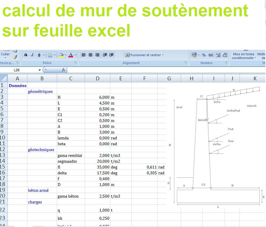 calcul de mur de sout nement sur excel cours g nie civil outils livres exercices et vid os. Black Bedroom Furniture Sets. Home Design Ideas