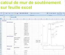 Feuille excel pour le calcul  de mur de soutènement à partir des données géométriques, géotechniques, béton armé et  charges.