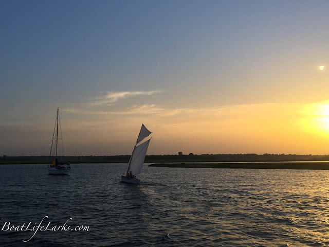 Sailboat, sunset, Wrightsville Beach, NC