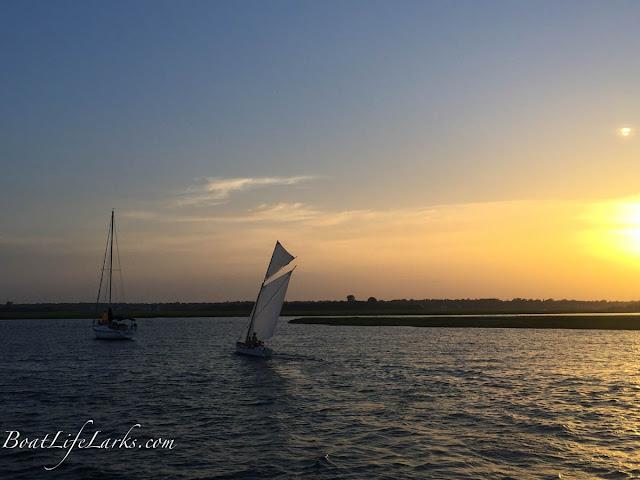 Sailboat, sunset, Wrightsville Beach, NC