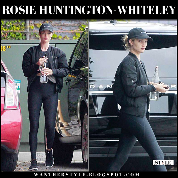 Rosie Huntington-Whiteley in black jacket alo yoga, black leggings and sneakers nike model casual style may 2