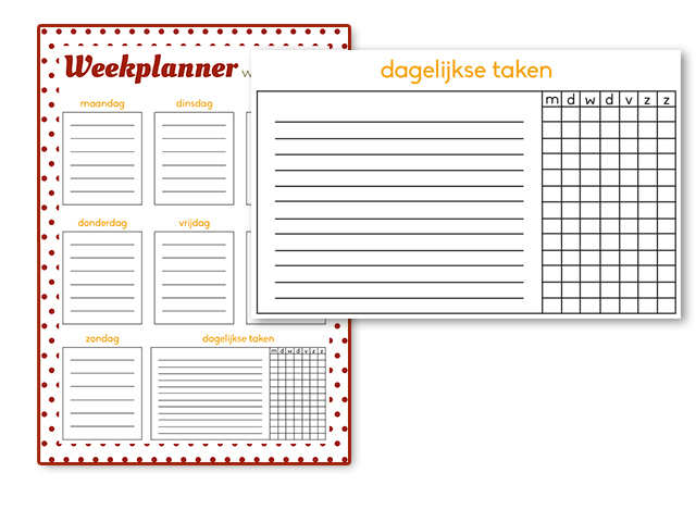 weekplanner downloaden printen