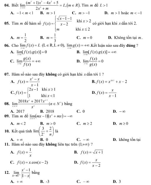 Đề kiểm tra 1 tiết chương giới hạn trường THPT Trần Bình Trọng , có đáp án