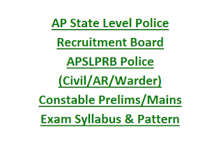 AP State Level Police Recruitment Board APSLPRB Police (Civil, AR) Constable Prelims, Mains Exam Syllabus & Pattern