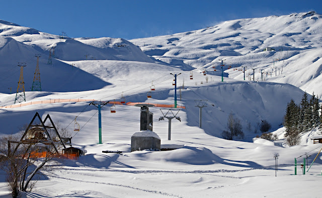 Dizin Ski resort in north of Tehran.