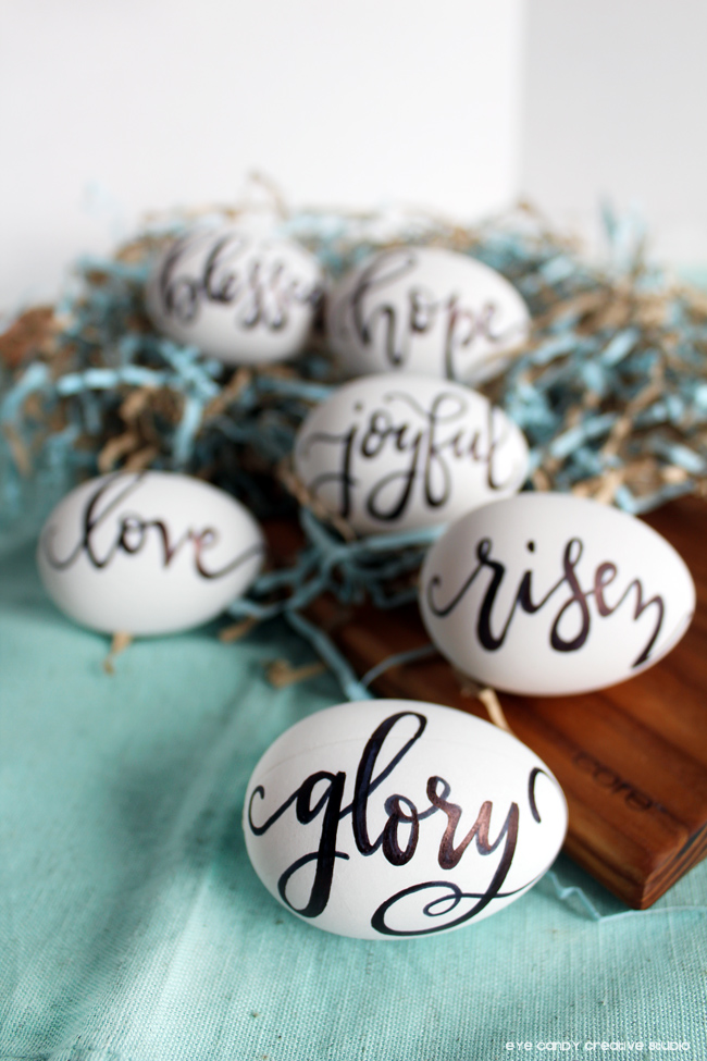 hand lettered easter eggs, faith based, glory, joyful, risen, inspirational