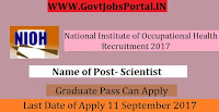 National Institute of Occupational Health Recruitment 2017– Scientist