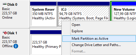 Partition table, marking C: partition as active