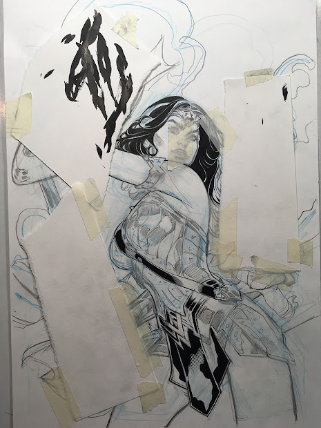 Bombshellter Woman 34 Justice League Variant Cover Step Part 2 Line Art