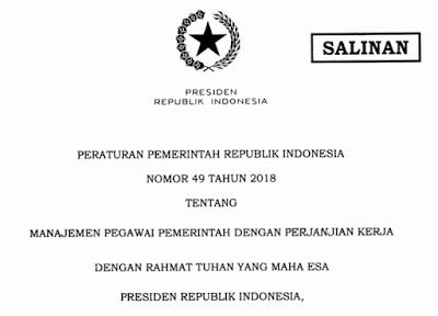 Download Peraturan Pemerintah/PP Nomor 49 Tahun 2018 Tentang Manajemen PPPK/Pegawai pemerintah dengan Perjanjian Kerja I pdf