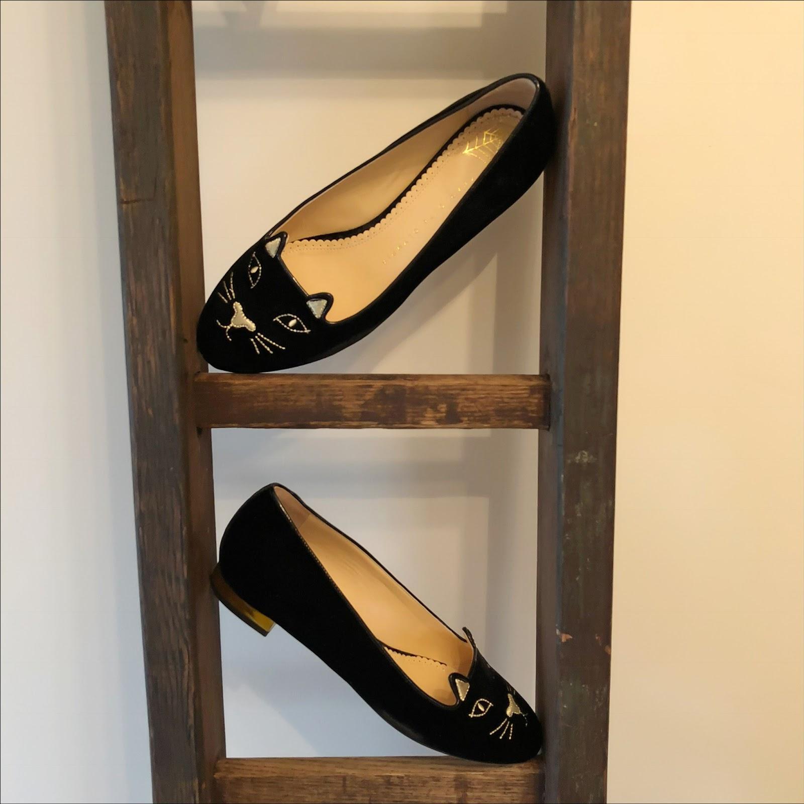my midlife fashion, charlotte olympia kitty flat slippers