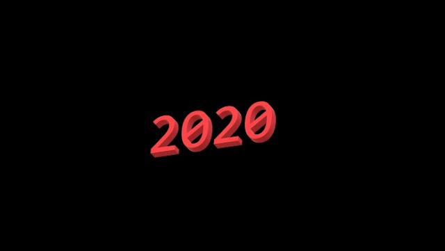 2020 in fancy 3D text