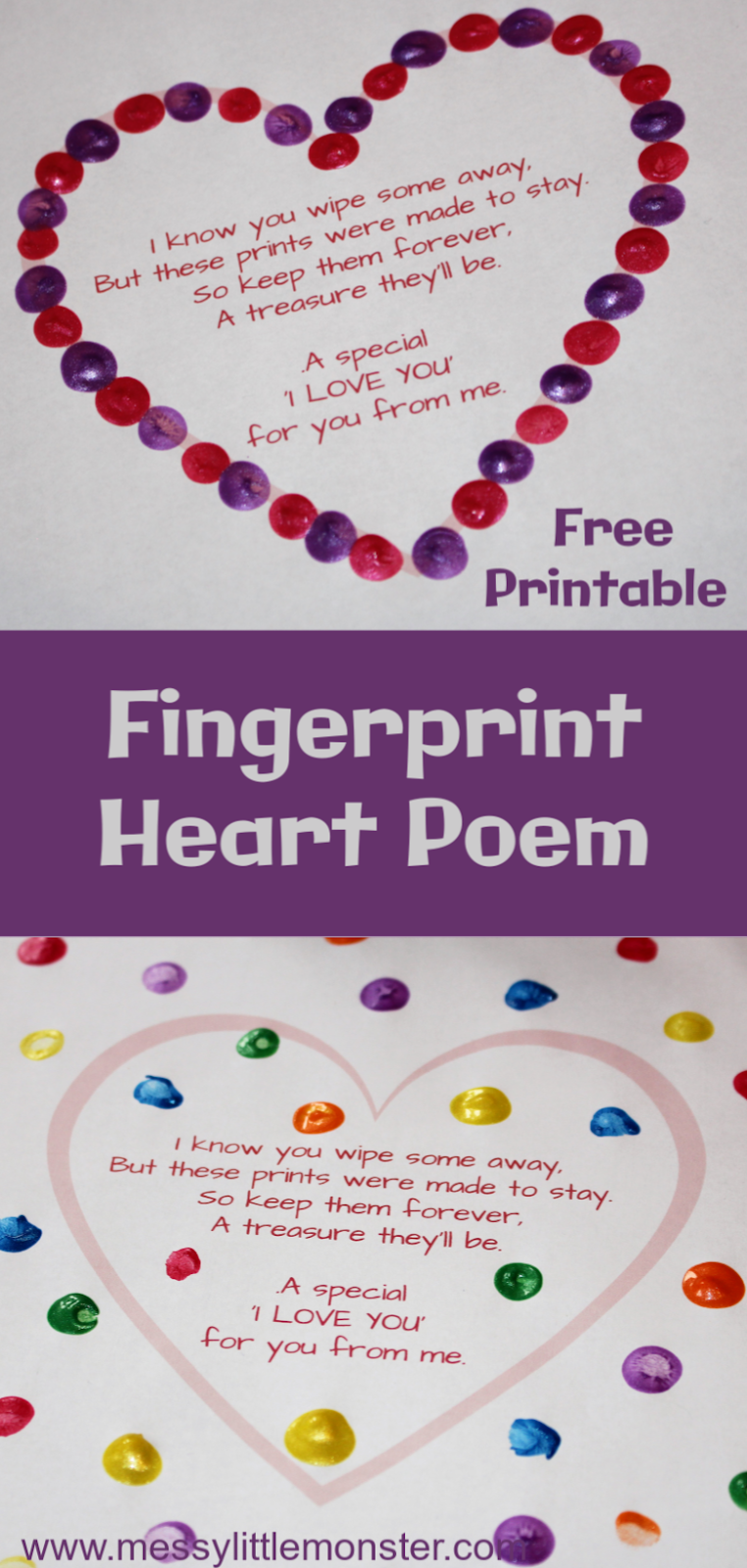 Printable fingerprint poem. An easy fingerprint heart craft for kids. A great Valentines Day craft or Mothers Day craft for kids.