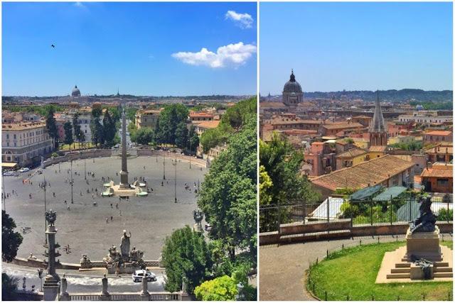 Vistas sobre la Piazza del Popolo desde el mirador en la colina del Pincio – Vistas tejados desde el Pincio en Roma
