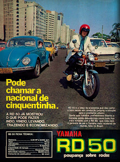 propaganda moto Yamaha RD 50 - 1975; brazilian advertising cars in the 70. os anos 70. história da década de 70; Brazil in the 70s; propaganda carros anos 70; Oswaldo Hernandez;