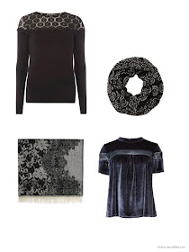 lace-trimmed or patterned wardrobe accents for the holidays December 2016