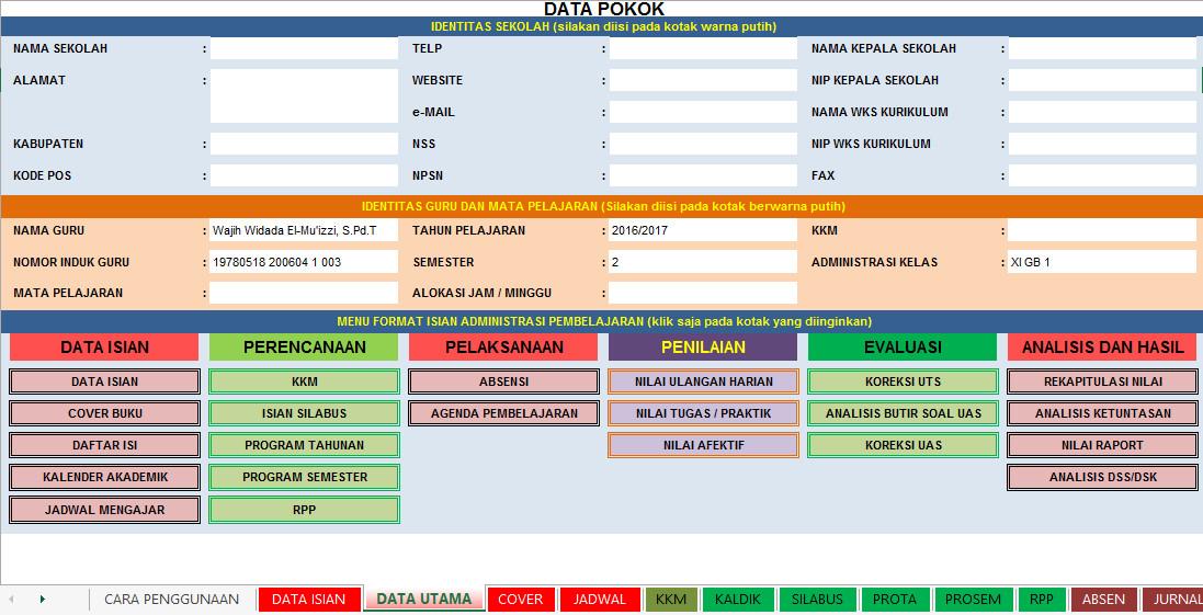 Unduh Aplikasi Administrasi Guru SD, SMP, SMA Terbaru Format Excel