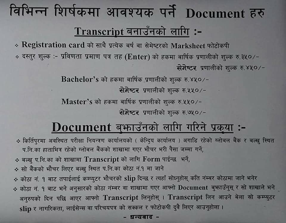 Process of Obtaining Tribhuvan University Transcript for Intermediate, Bachelors and Masters Level with a list of required documents and fees
