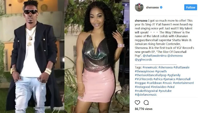 African Dancehall King Shatta Wale (Left) and Jamaican Female Artist Shenseea (Right)
