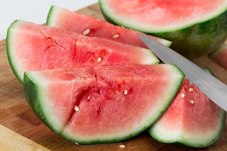 Sliced water melon on a table