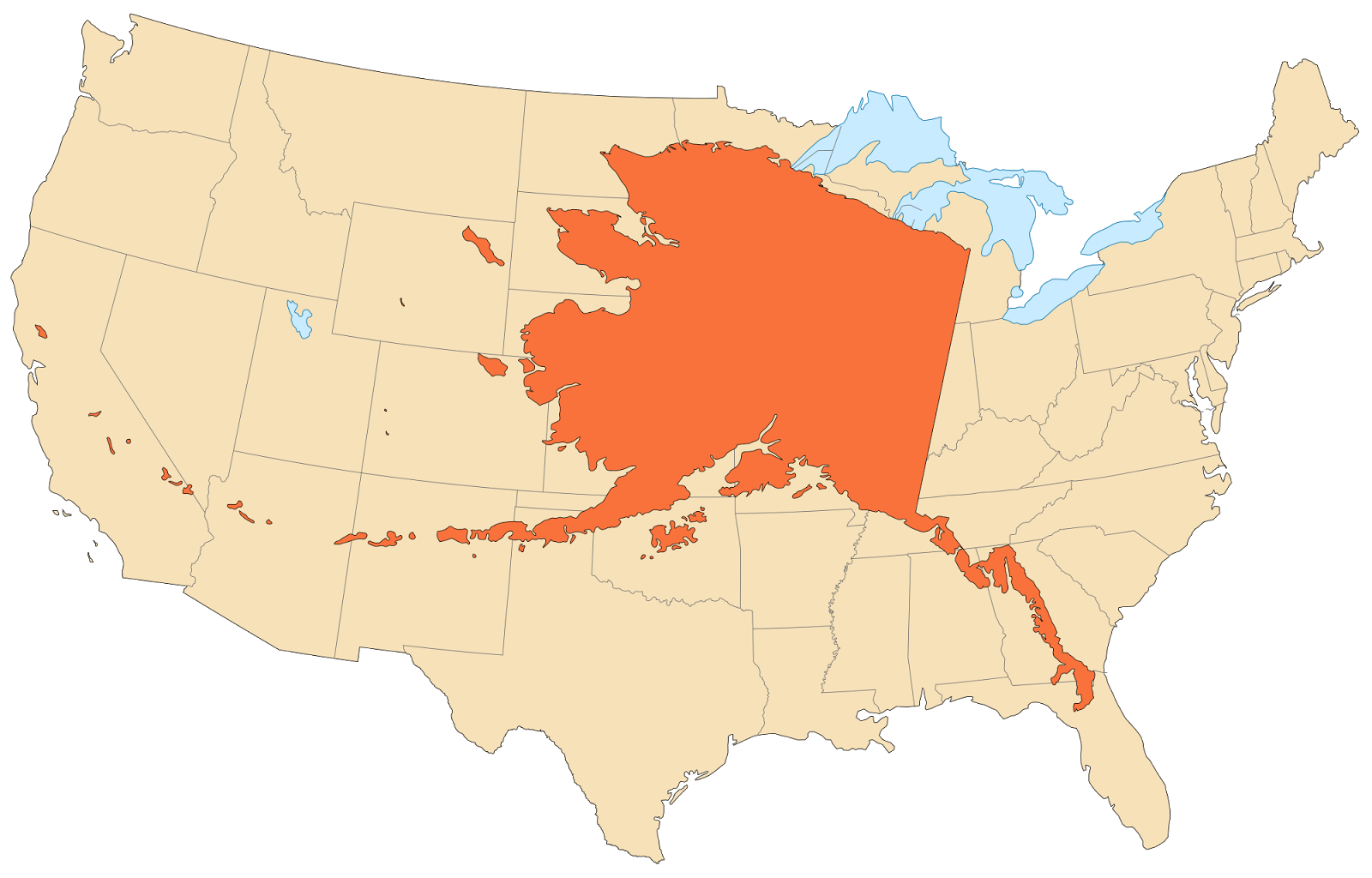 the state of ak compared in size to the rest of the us it s huge