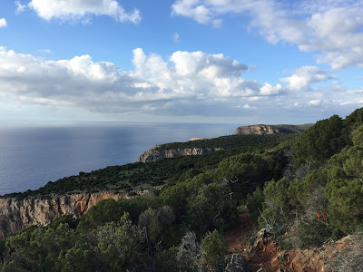 View from the trail looking north along the Sardinia coast.
