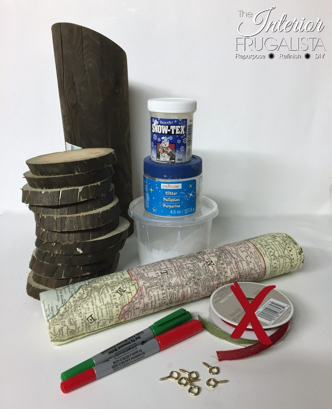 Materials Used To Make Wood Slice Map Ornaments