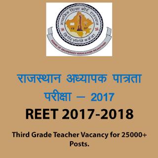 REET 2017 - Vacancy for 25000 Third Grade Teacher Jobs