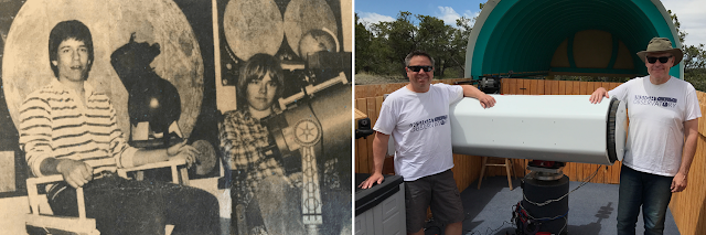 Michael Petrasko (left) and Muir Evenden (right) being interviewed by the Cape Cod Times in May 1982 then pictured at Insight Observatory's annual remote telescope maintenance visit at SkyPi Remote Observatory, May 2019.