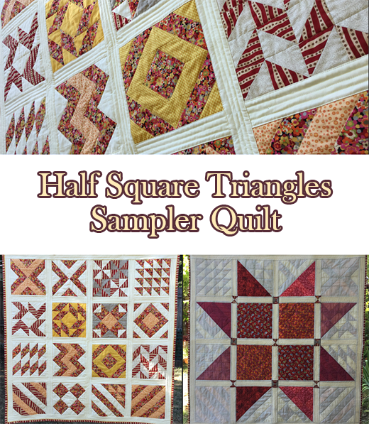 Half Square Triangles Sampler Quilt Free Pattern designed by Teresa of SewnUp Teresa DownUnder