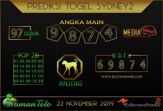Prediksi Togel SYDNEY 2 TAMAN TOTO 22 NOVEMBER 2019