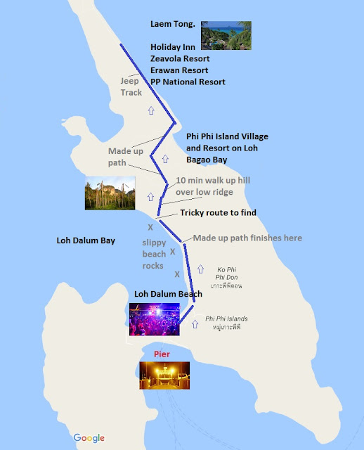 Map of walk from Nightlife beach to Laem Tong on Koh Phi Phi