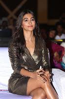 Pooja Hegde looks glamarous in deep neck sleevless short tight golden gown at Duvvada Jagannadham thank you meet function 110.JPG