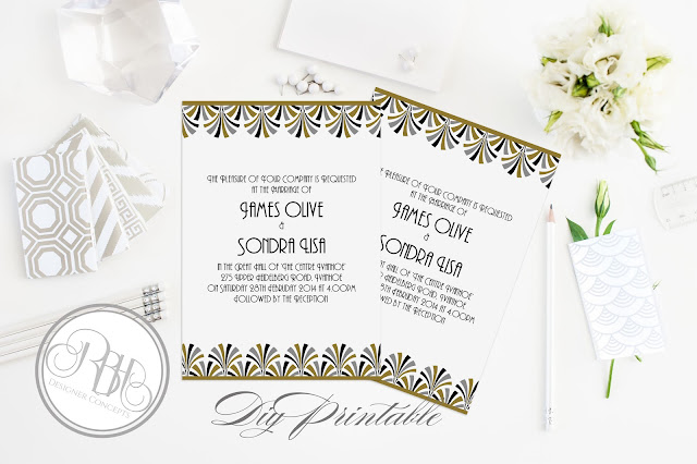 art deco stationery invite rsvp save the date menu placecards