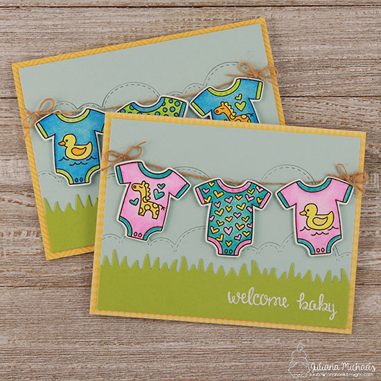Baby Laundry Card by Juliana Michaels | Loveable Laundry stamp set and Stitched Onsie die set by Newton's Nook Designs #newtonsnook