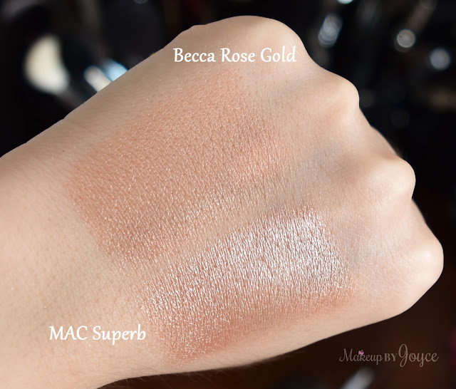 Becca Rose Gold Highlighter vs MAC Superb Swatches